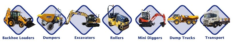 Categories of machinery provided by Danaher & Walsh Plant Hire: backhoe loaders, excavators, mini diggers, rollers, dumpers, dump trucks and bulldozers.