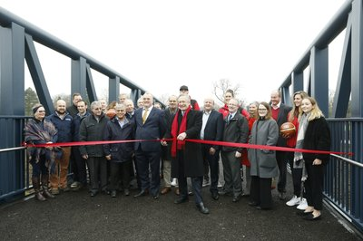 Charter Street Footbridge being officially opened.