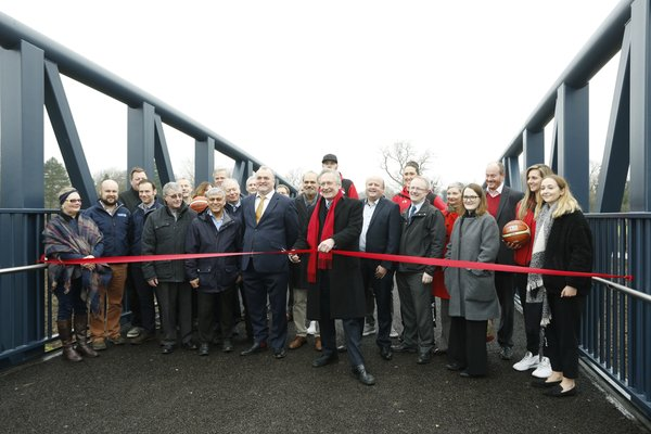 Charter Street Footbridge, Leicester, being officially opened by City Mayor Sir Peter Soulsby